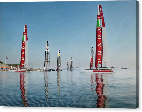 America Cup Boat Reflections - Canvas Print