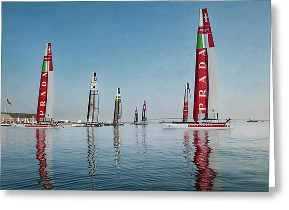 America Cup Boat Reflections - Greeting Card