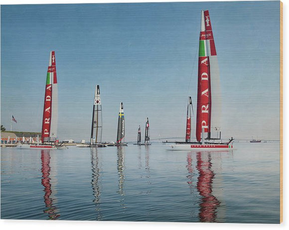 America Cup Boat Reflections - Wood Print