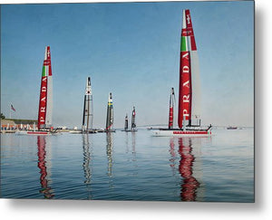 America Cup Boat Reflections - Metal Print