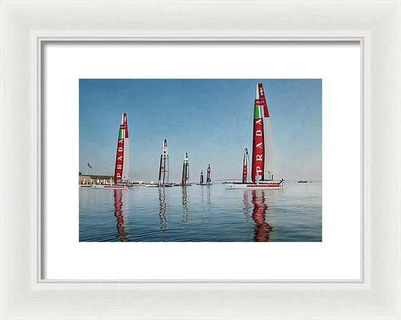 America Cup Boat Reflections - Framed Print