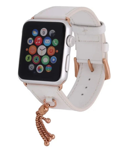 Pulseira Apple Watch Couro & Pingente