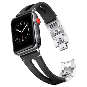 Pulseira Apple Watch Couro & Metal 2x1