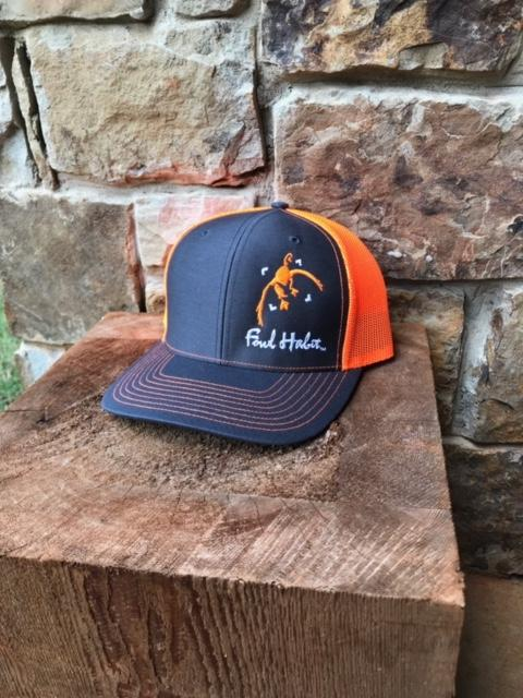 Whiskey Bent Hat Co-Fowl Habit Side Logo Orange