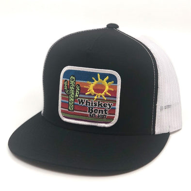 Whiskey Bent Hat Co-Serape Black/White Trucker