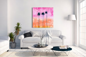Palm Tree Sunset Wall Art