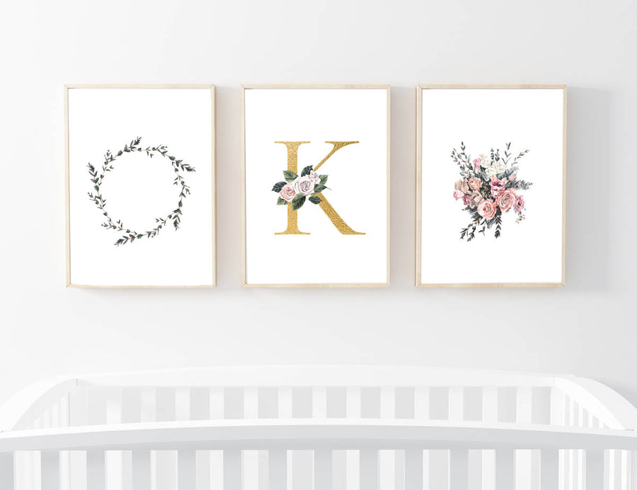 Gold Letter Alphabet Nursery Prints