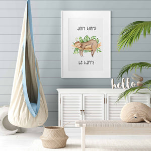 Don't Hurry Sloth Nursery Print - Digital Download