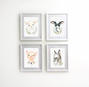 Four Piece Animal Nursery Prints