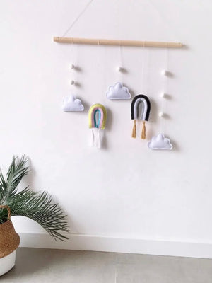 Hanging Rainbow and Clouds Nursery Decor