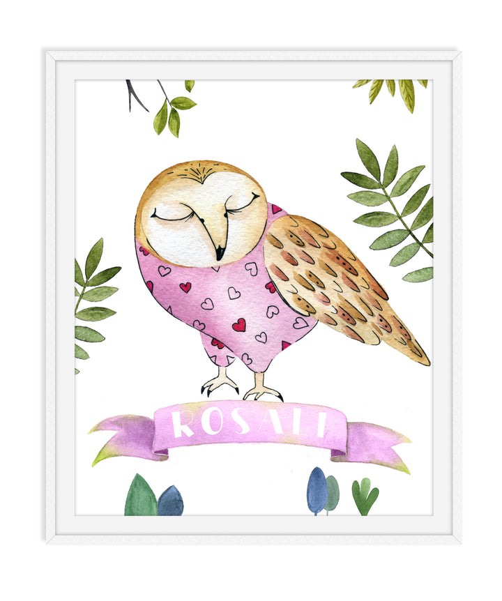 Framed Animal Nursery Decor - OWL
