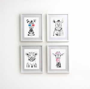 Four Piece Animal Nursery Decor Set