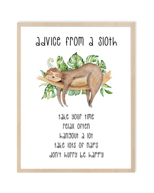 Sloth Advice Nursery Print