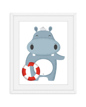 Hippo Nursery Prints