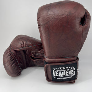 SuperLEAD Velcro Boxing Gloves (Maroon Retro)