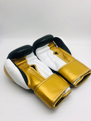 Elite Training Velcro Gloves (Black-White-Metallic Gold)