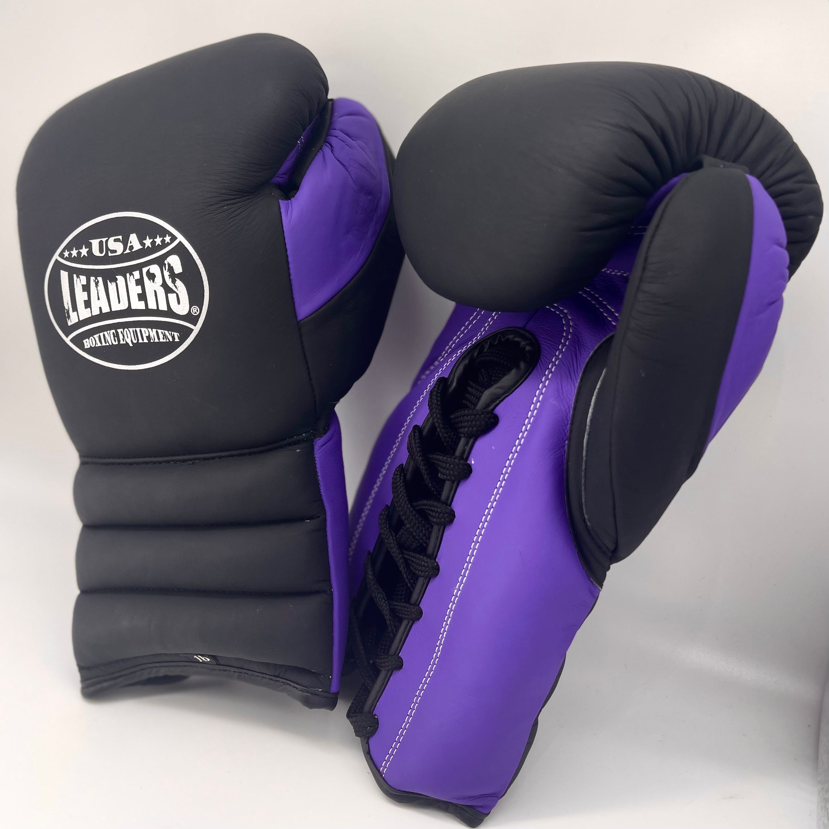 Elite Compact Sparring Gloves Laced (Black-Purple Matte)