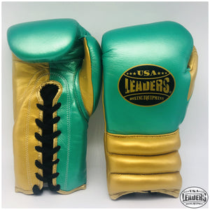 Elite Pro Style Compact Gloves Laced (Emerald Green-Metallic Gold)