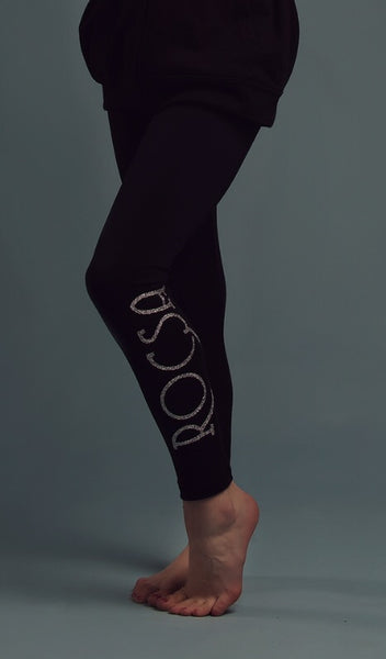 Black Rocsa leggings with silver sparkle logo