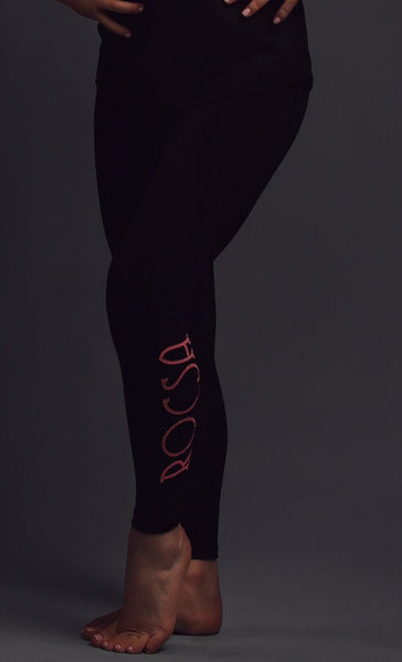 Black Rocsa leggings with pink sparkle logo