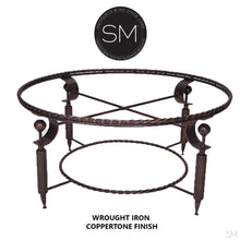 South Western Coffee Table- Hammered Copper Top, Wrought Iron Base