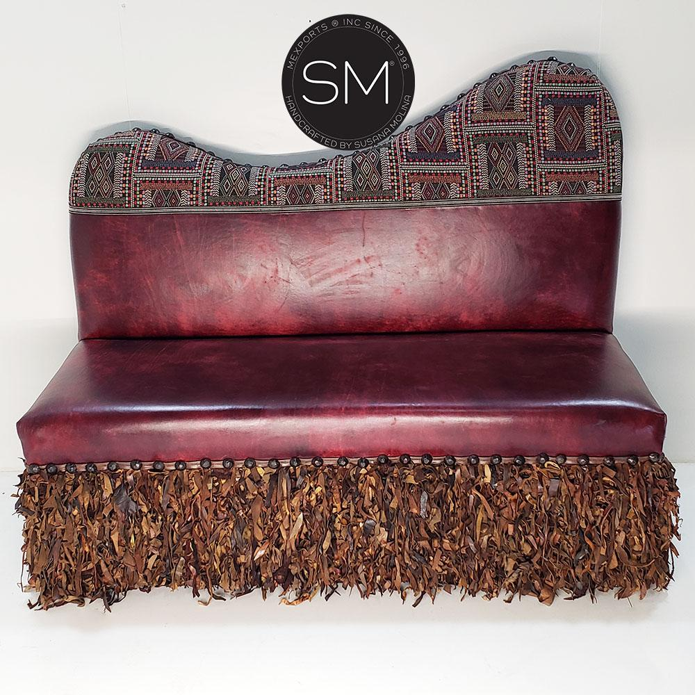 Banquet Seat genuine Leather & jacquard-Mexports® Inc by Susana Molina -Mexports® Inc by Susana Molina