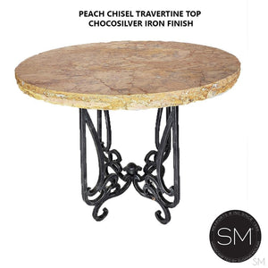Bar Table Ideas- Pub Table Outdoor Furniture ,Bar Table with Natural Travertine Stone Handcrafted Wrought Iron Pedestal Base - Mexports® Inc by Susana Molina