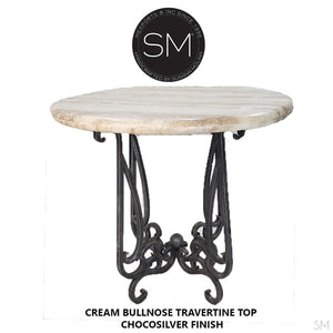 "Bar Table Ideas,Outdoor Furniture with Natural Travertine Stone-Bar Table-Mexports By Susana Molina -38""-Peach Chiseled-Chocolate Espresso-Mexports® Inc by Susana Molina"
