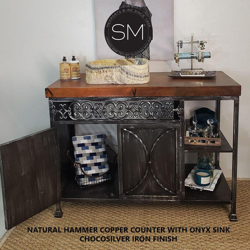 Bathroom Vanity- Hammered Copper Top Onyx Marble Sink-Luxury bathroom vanities-Mexports By Susana Molina-Natural Hammer Copper-Chocosilver-Mexports® Inc by Susana Molina