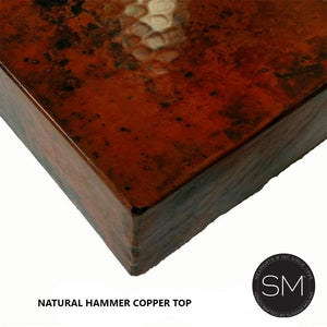 Bathroom Vanity Natural Hammer Copper Counter Top -Onyx Marble Sink - Metal sheet Cabinet with shelves - Mexports® Inc by Susana Molina