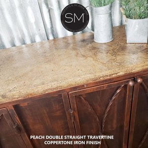 "Chic Werstern Buffet Cabinet | Natural Travertine stone top-Buffet cabinet-Mexports By Susana Molina -Coppertone-59"" x 19""-Double Straight-Mexports® Inc by Susana Molina"