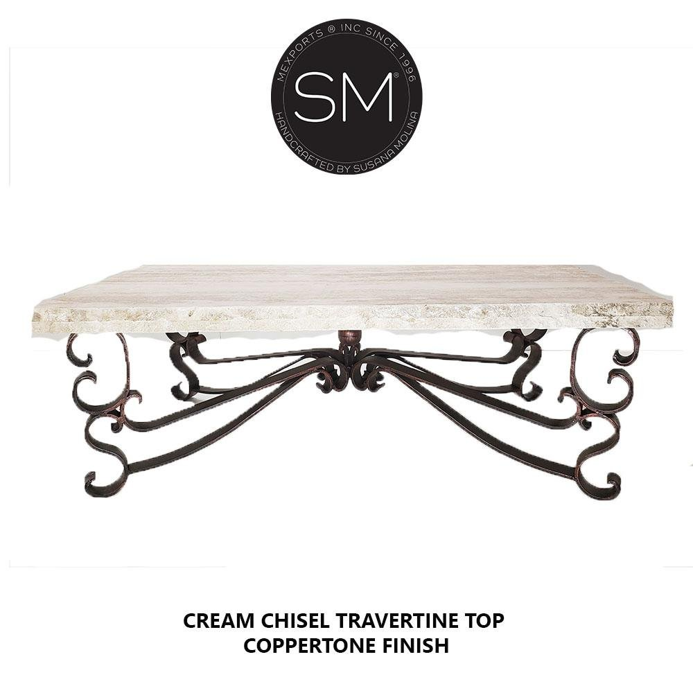 Coffee Table Travertine Rectangular Cream Top-Mexports By Susana Molina-Mexports® Inc by Susana Molina
