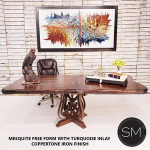 Western Conference table - Desk Mesquite Wood Form Rectangular-Mexports By Susana Molina-Mexports® Inc by Susana Molina