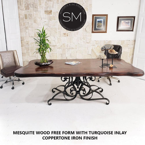 Conference table- Desk-Mesquite Wood FreeForm Rectangular Dining Table-Desks - Conference tables-Mexports By Susana Molina-72