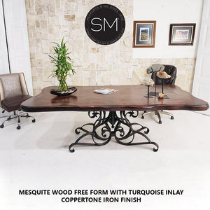"Conference table- Desk-Mesquite Wood FreeForm Rectangular Dining Table-Desks - Conference tables-Mexports By Susana Molina-72"" X 42"" (6'FT)-Turquoise-Dark Rust Brown-Mexports® Inc by Susana Molina"