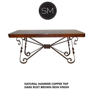 "High End Western Console Table - Entryway Table Hammered Copper top.-Console tables - Entryway tables-Mexports By Susana Molina-72"" X 24""-Natural Copper-Dark Rust Brown-Mexports® Inc by Susana Molina"