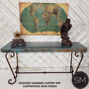 Console Table with a premier quality Hammer Copper Top + Vintage iron - Mexports® Inc by Susana Molina