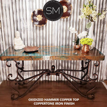 Console Tables that You'll Love-Wrought iron base Hammer Copper top - Mexports® Inc by Susana Molina