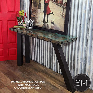 Contemporary and modern console table Hammer Copper sofa table - Mexports® Inc by Susana Molina