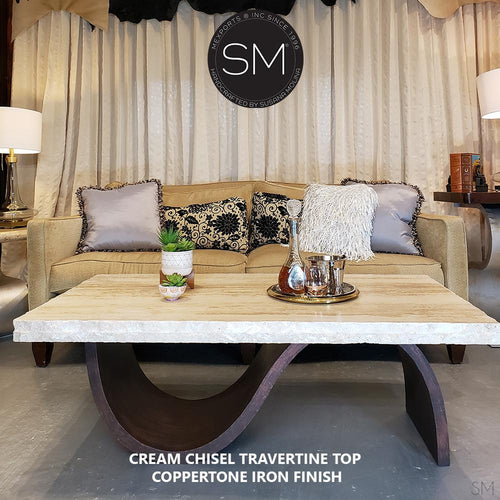 Contemporary Coffee Table Rectangular, Travertine Top and Metal Industrial Iron Base-Mexports By Susana Molina-Mexports® Inc by Susana Molina