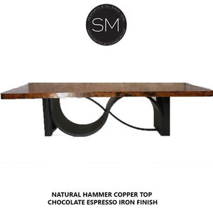 Modern Contemporary Conference - Desk table withModern Hammer Copper top-Mexports By Susana Molina-Mexports® Inc by Susana Molina