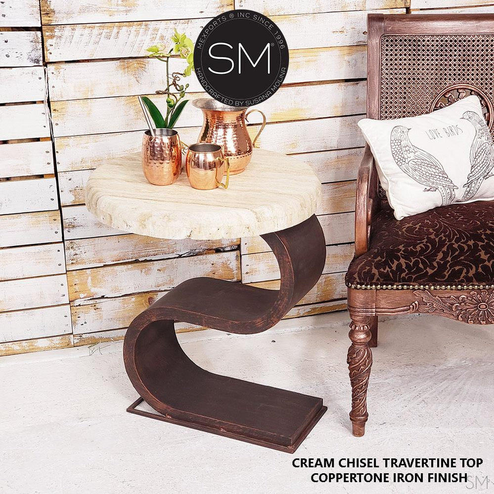 Contemporary End Table with Cream Travertine Top., Accent Ocassional Table-Mexports By Susana Molina-Mexports® Inc by Susana Molina