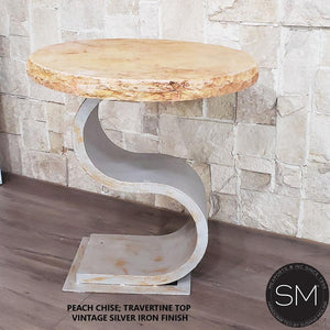 Contemporary End Table with Cream Travertine Top., Accent Ocassional Table - Mexports® Inc by Susana Molina