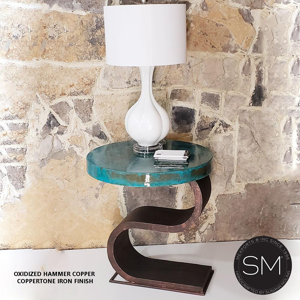 Contemporary & Modern Hammer Copper side - End Table - Mexports® Inc by Susana Molina