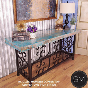 Copper Console table -Vintage wrought iron console tables - Mexports® Inc by Susana Molina