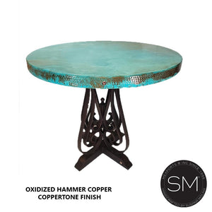 "Copper Kitchen Decor -VINTAGE High End Furniture -Natural Hammer Copper-Bar Table-Mexports By Susana Molina-Oxdized Copper-Coppertone-48""Rd-Mexports® Inc by Susana Molina"