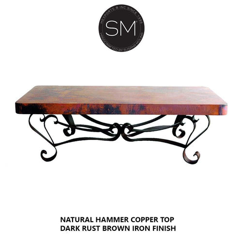 Copper Work-Rectangular Coffee table with Hammer copper top-Rectangular Coffee table-Mexports By Susana Molina-Natural Hammer Copper-Dark Rust Brown-Mexports® Inc by Susana Molina