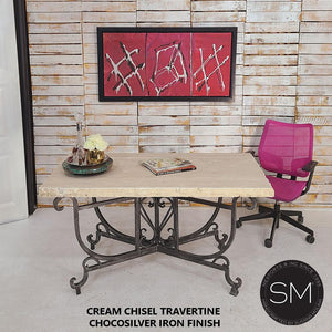 Desk Cream Chiseled Chocosilver Base - Desk-Desks - Conference tables-Mexports® Inc by Susana Molina -Mexports® Inc by Susana Molina