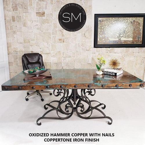 Desk Hammer Copper top Wrought Iron Desk-Mexports By Susana Molina-Mexports® Inc by Susana Molina