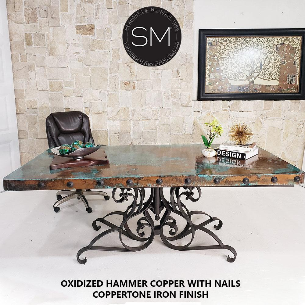 Desk Hammer Copper top Wrought Iron Desk - Mexports® Inc by Susana Molina